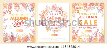 Autumn special offer banners with autumn leaves and floral elements in fall colors.Sale season card perfect for prints, flyers,banners, promotion,special offer and more. Vector autumn promotion.