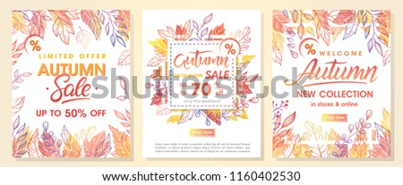 Autumn special offer banners with autumn leaves and floral elements in fall colors.Sale season card perfect for prints, flyers,banners, promotion,special offer and more. Vector autumn promotion. - Shutterstock ID 1160402530