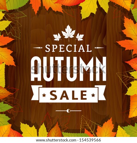 autumn special sale vintage vector typography poster on wood background. layered.