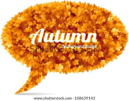 Autumn speech bubble concept orange leaves