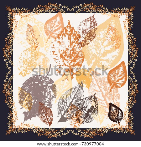 Autumn square arrangement from pretty leaves. Modern style. Floral forest cute background for scarf print, textile, covers, surface, scrapbooking, decoupage. Bandana, shawl, hijab design.