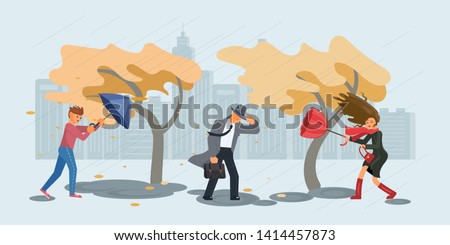 Autumn stormy weather. People in the rain and gusting wind. Flat Art Vector illustration