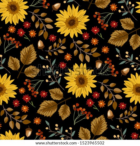 Autumn sunflowers with black background pattern. Maple leaves, sunflowers, flowers ditsy. Perfect for fall, Thanksgiving, holidays, fabric, textile. Seamless repeat swatch.