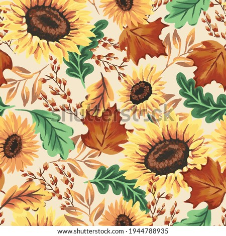 Autumn sunflowers with cream background pattern. Maple leaves, sunflowers, flowers ditsy. Perfect for fall, Thanksgiving, holidays, fabric, textile. Seamless repeat swatch.