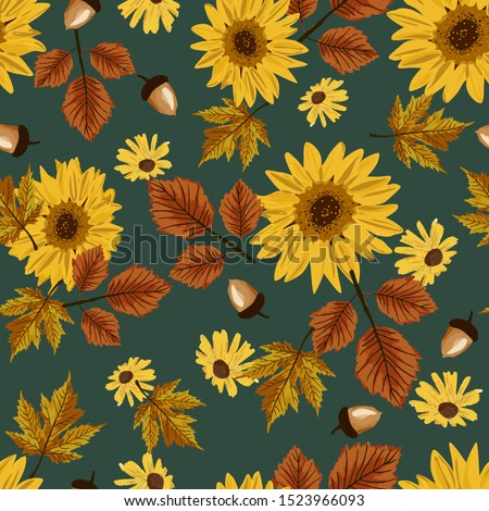 Autumn sunflowers with teal background pattern. Maple leaves, sunflowers, acorns ditsy. Perfect for fall, Thanksgiving, holidays, fabric, textile. Seamless repeat swatch.