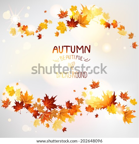 Autumn swirl of maple leaves Place for text