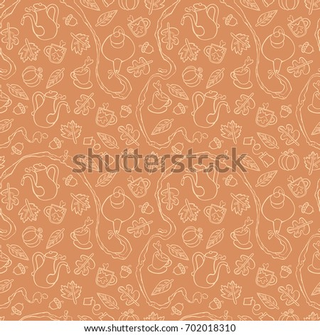 Autumn tea. Teapot and cups. Leaves and acorns. Seamless vector pattern (background).