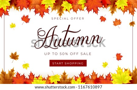 Autumn theme. Sale background layout decorate with leaves for promo or shopping sale