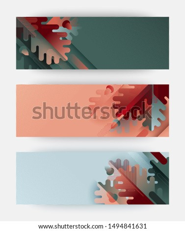 Autumn themed illustrations for shopping sale banners, posters, outdoor advertisement or seasonal invitations. Composition of oak leaves and acorns with geometric elements. Trendy flat style vector