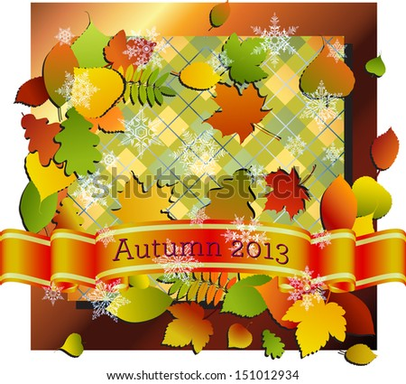 Autumn themes (leaves, colors, banner) with an over layer of faint snowflakes