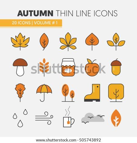 autumn thin line vector icons...