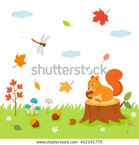 autumn time  in forest cute