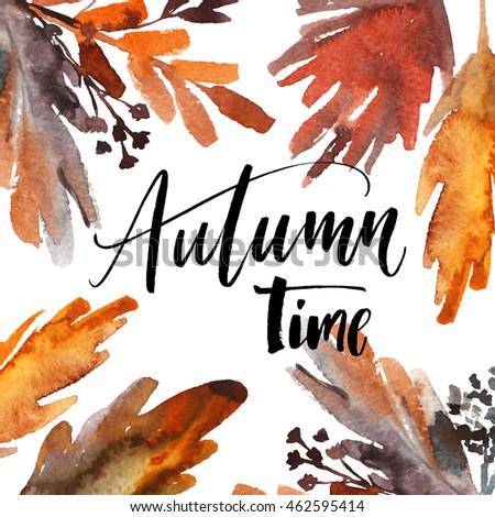 autumn time phrase hand drawn