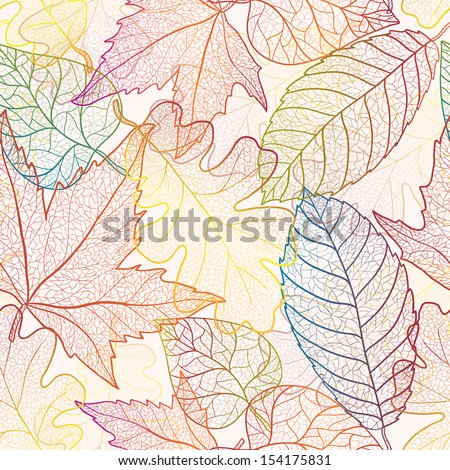 Autumn transparent maple leaves pattern background. Colored art vector autumn leaves pattern.  Fabric texture. - stock vector