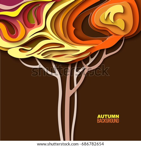 autumn tree abstract paper cut