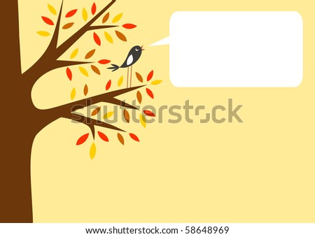 Autumn tree and little bird with word bubble for your text, vector illustration