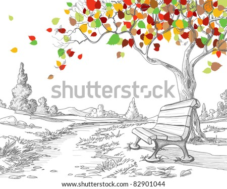 Autumn tree, falling leaves