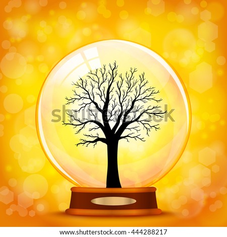 autumn tree in glass ball vector