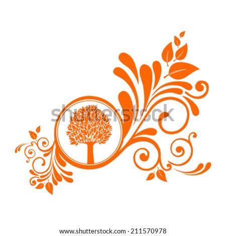 autumn tree isolated on White background. Design vintage element isolated on White background. Vector illustration