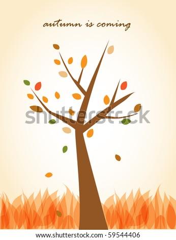 Autumn tree. Vector background