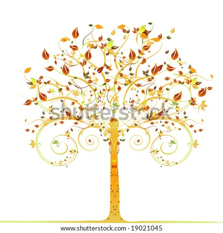 autumn tree - vector illustration - stock vector