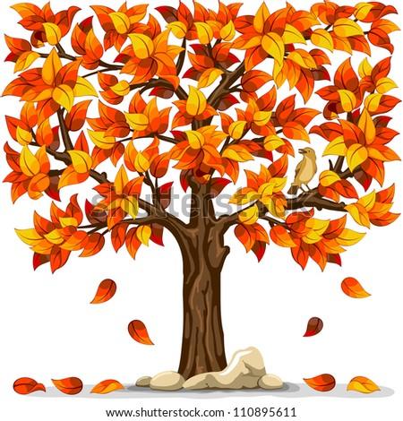 autumn tree with bird isolated