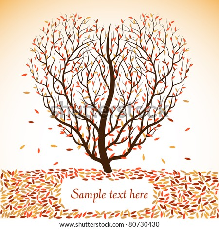 Autumn tree with space for text. Vector illustration.