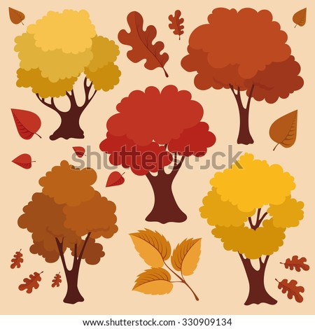 autumn trees and leaves vector
