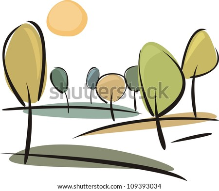 Autumn trees on the hill at sunny day - vector landscape illustration isolated on white background