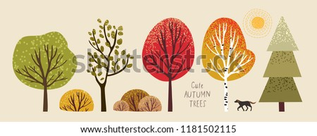 autumn trees  set of vector