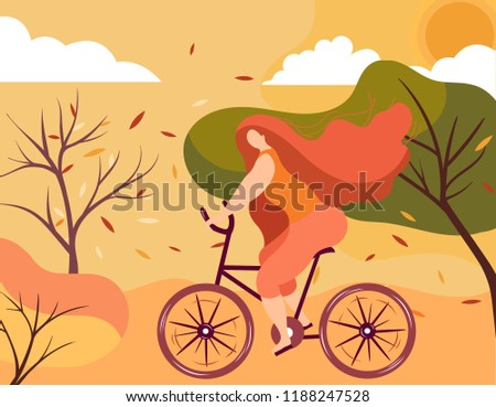Autumn trip.Flat girl riding a bicycle. Poster with cyclist riding bicycle. Cycling poses in trend colors. Bicycle road racers. Adventure and travel outdoor on bicycle. Bike courier, vector