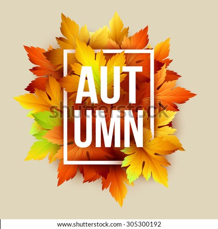 autumn typographic fall leaf
