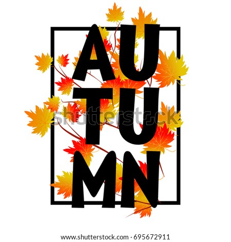 Autumn typographic. Fall leaf. Vector illustration EPS 10 #695672911