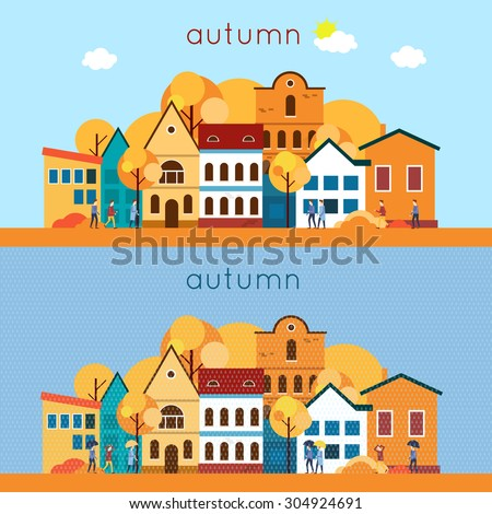 autumn urban landscape  the
