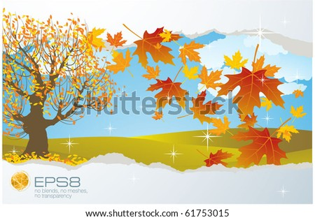 Autumn vector abstract with falling maple leaves.