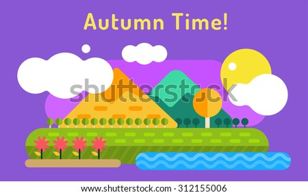 Autumn vector background. Autumn cartoon style background. Yellow autumn colors. Autumn landscape illustration. Autumn leaves, trees, mountains. Outdoor Autumn. Summer goodbye! Autumn vector landscape