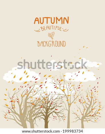 Autumn vector background with flying leaves, trees and clouds.