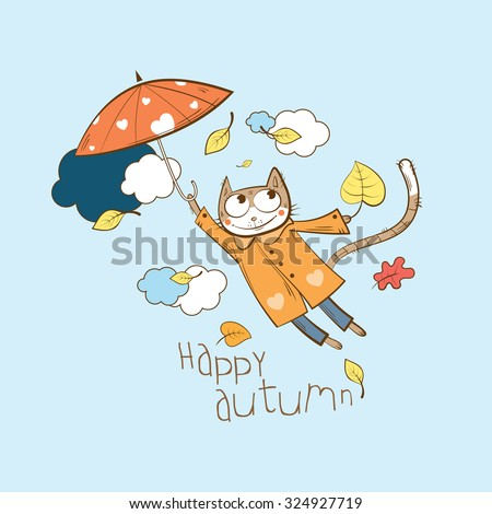 autumn vector card with cartoon