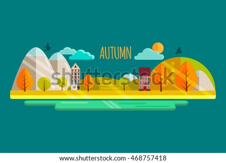 Autumn. Vector illustration, eps10. Autumn park with yellow and orange trees, cute houses, sun, river. Autumn nature landscape, mountains.