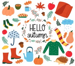 Autumn vector illustration set - autumn leaves, hedgehog, wreaths, pumpkin, cozy food. Suitable for posters, invitations, stickers, greeting cards, banners. Hand-drawn lettering