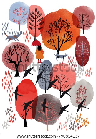 Autumn vector landscape. Watercolor vector background and flat illustration