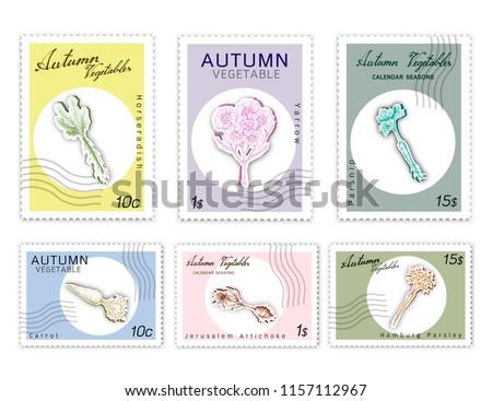 Autumn Vegetables, Post Stamps Set of Hand Drawn Sketch Yarrow, Carrot, Hamburg Parsley, Horseradish, Jerusalem Artichoke and Parsnip in Trendy Origami Deep Paper Art Carving Style.