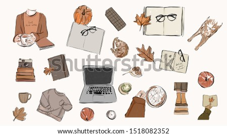 Autumn watercolor collection. Subjects of study, clothing, food.