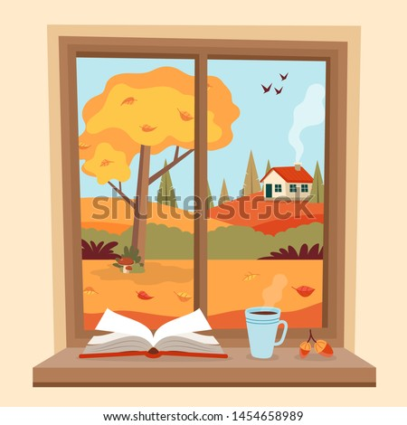 autumn window with rural view