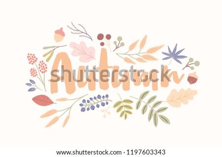 autumn word handwritten with