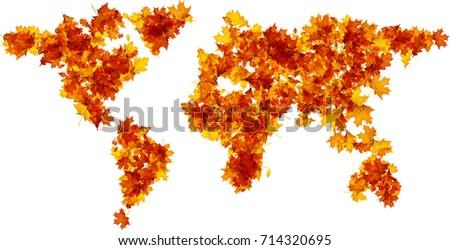 autumn world map silhouette