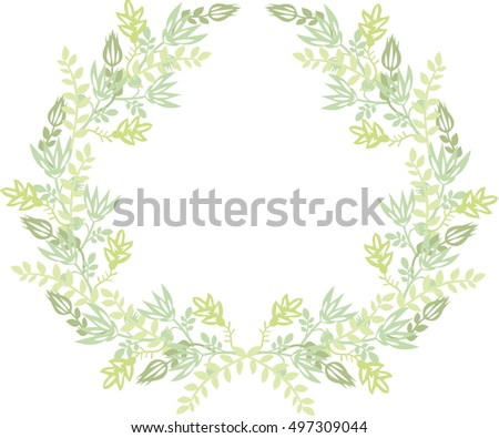 Autumn wreath of plants. Garland of flowers and leaves. Vector.