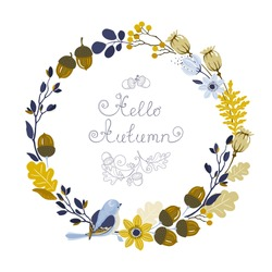 Autumn Wreath with bird, flowers, leaves oak, acorns, branches and poppies, vector floral illustration.