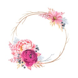 Autumn wreath with purple ranunculus, pink peony and branches. Vector floral illustration in vintage watercolor style.
