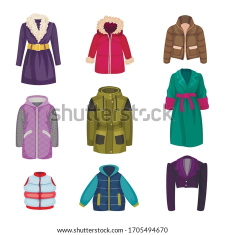 Autumnal and Winter Outerwear with Long Sleeved Clothing Items Vector Set Foto d'archivio ©